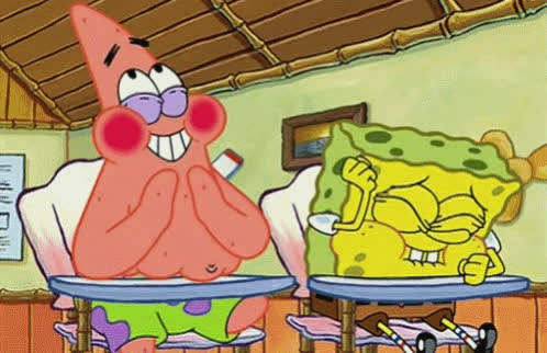 cracking up, funny, giggling, hilarious, laughing, patrick, snickering, spongebob, Spongebob and Patrick Laughing GIFs
