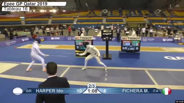 Watch HARPER Ido 10 GIF by Scott Dubinsky (@fencingdatabase) on Gfycat. Discover more gender:, leftname: HARPER Ido, leftscore: 10, rightname: FICHERA M, rightscore: 7, time: 00024450, touch: right, tournament: doha2019, weapon: epee GIFs on Gfycat