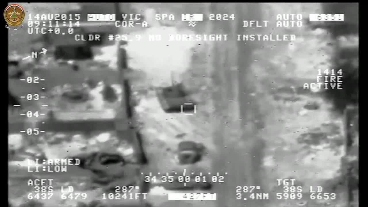 Airstrike, destroyedtanks, ISIS bulldozer hit by IAF strike. (reddit) GIFs