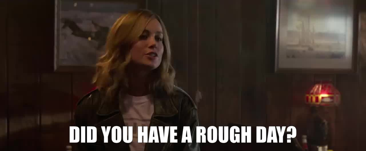 brie larson, captain marvel, marvel, marvel cinematic universe, mcu, rough day, Brie Larson Rough Day GIFs
