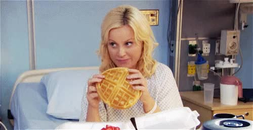 Watch this amy poehler GIF by GIF Queen (@ioanna) on Gfycat. Discover more amy, amy poehler, bed, bite, breakfast, brunch, funny, get, hospital, hungry, lol, parks, poehler, recreation, soon, sunday, tasty, waffles, well, yummy GIFs on Gfycat