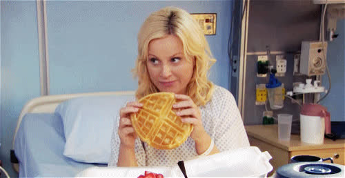 amy, amy poehler, bed, bite, breakfast, brunch, funny, get, hospital, hungry, lol, parks, poehler, recreation, soon, sunday, tasty, waffles, well, yummy, Amy Poehler - Waffles for breakfast GIFs