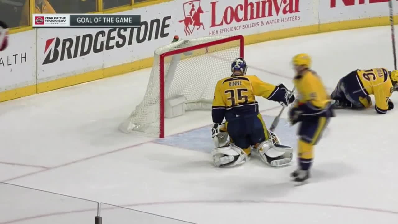 hawwkey, After a home ice advantage bounce gives the Preds a 2-on-1, Hall and Cammy connect to win the game GIFs