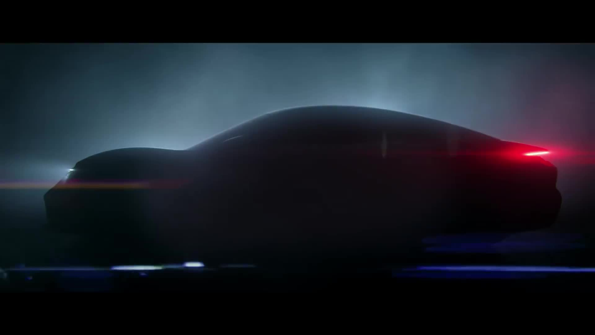 car, dark, led, lights, neon, night, porsche, red, taycan, Porsche Taycan - Lights GIFs
