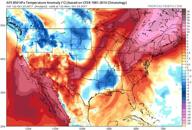 GFS - 850 hPa Temperature Anomaly - US