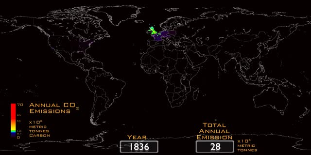 Time-lapse history of global CO2 emissions by humans 1751-2008