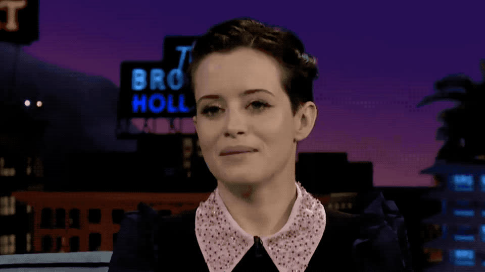 accent, awkward, blush, claire, confused, corden, crown, cute, foy, hmm, james, late, late late, night, queen, show, surprised, think, wtf, Claire Foy is surprised GIFs