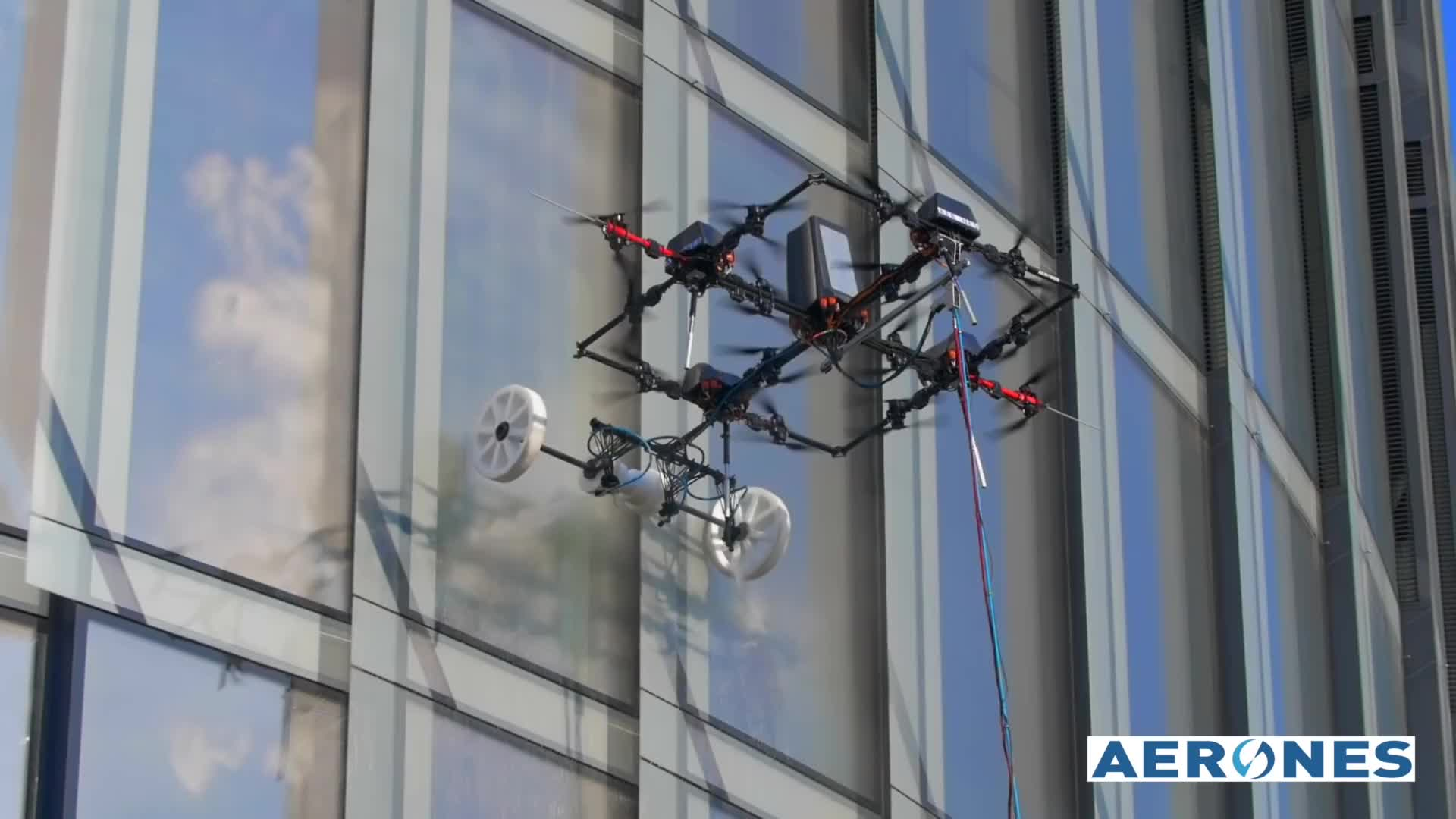 Aerones, Science & Technology, Aerones Drone for High-Altitude Building Cleaning GIFs