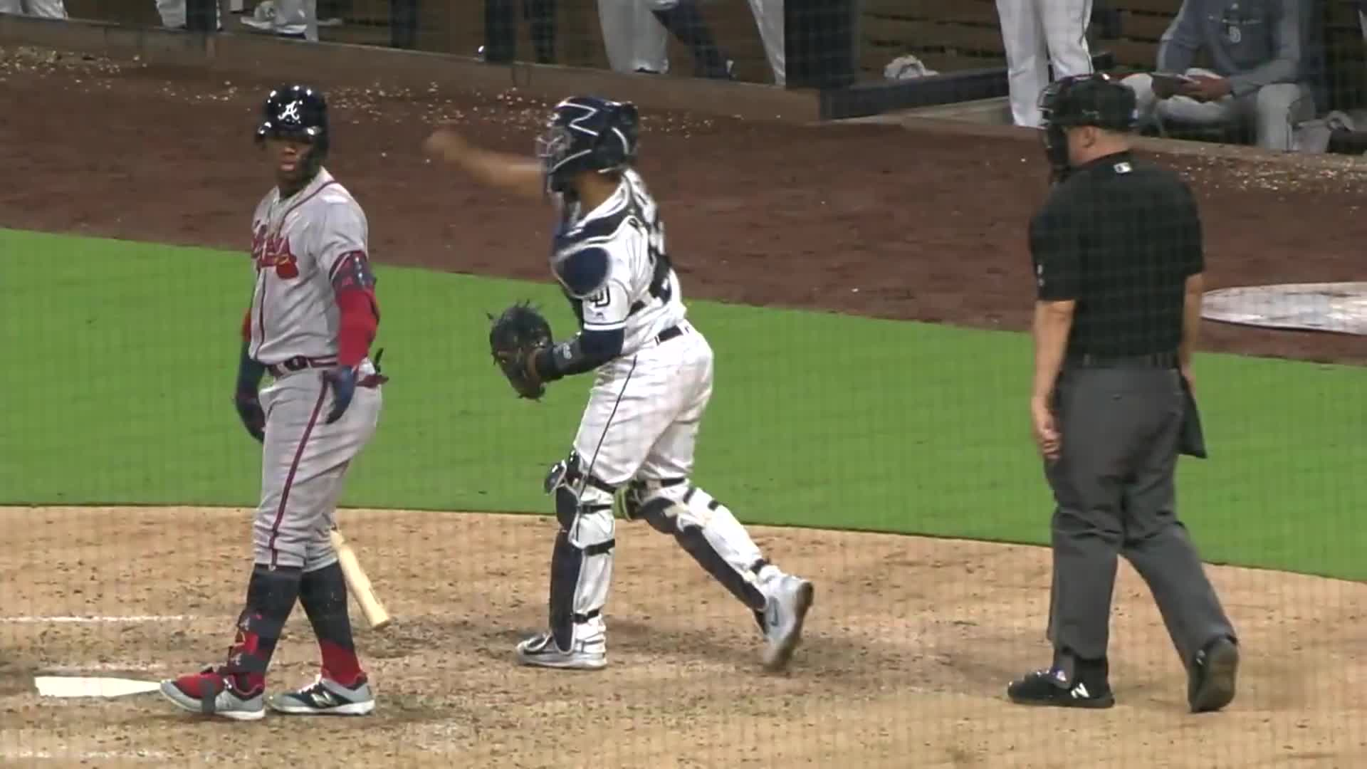 atlanta, baseball, braves, Ronald Acuña Jr. throwing up his arms in disbelief. GIFs