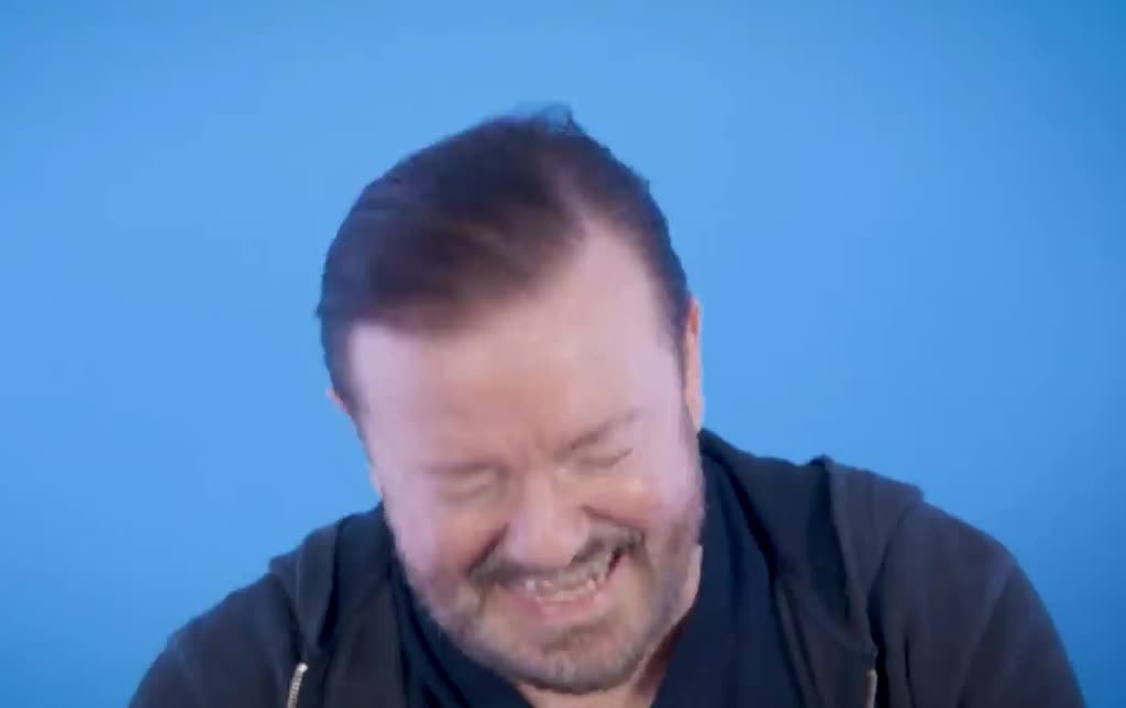 can, celebs, cry, epic, gervais, ha, haha, hehe, hilarious, i, joke, joking, laugh, lol, loud, out, ricky, ricky gervais, say, this, Ricky Gervais - Can I say this out loud? GIFs