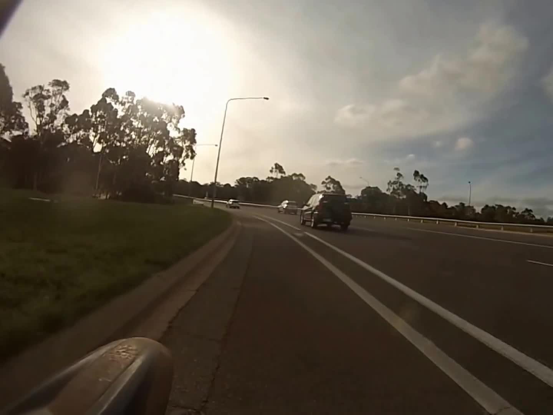 bicycle (product category), canberra (city/town/village), kangaroo (animal), Kangaroo hits cyclist 19 January 2015 GIFs