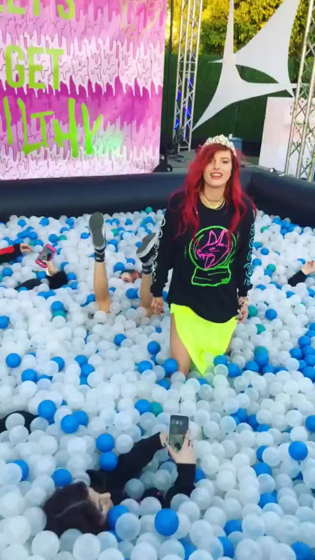 Bella Thorne, BellaThorne, Coachella, Filth Fangs, awesome, ball pit, ballpit, celebs, ff records, ffrecords, fun, party, singers, Bella Thorne in the Filth Fangs Records ball pit at Coachella GIFs