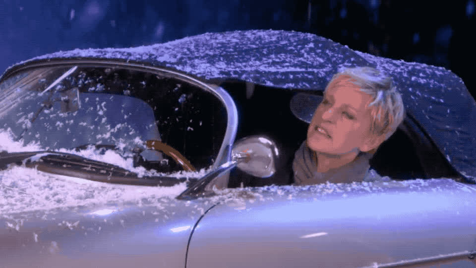 bieber, cabrio, car, ellen, ellen degeneres, fight, funny, get, justin, mistletoe, of, out, show, snow, snowball, snowfight, the, throw, way, yell, Ellen is in Justin Bieber's - 'Mistletoe' GIFs