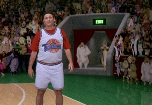 Bill Murray, fountainpens, todayilearned, Perhaps I Can Be Of Some Assistance? [Space Jam 1996 Bill Murray Basketball NBA sports movie cartoon Looney Tunes user redditor mod moderator summon call appear show whats up doc help aid support backup assist] (reddit) GIFs