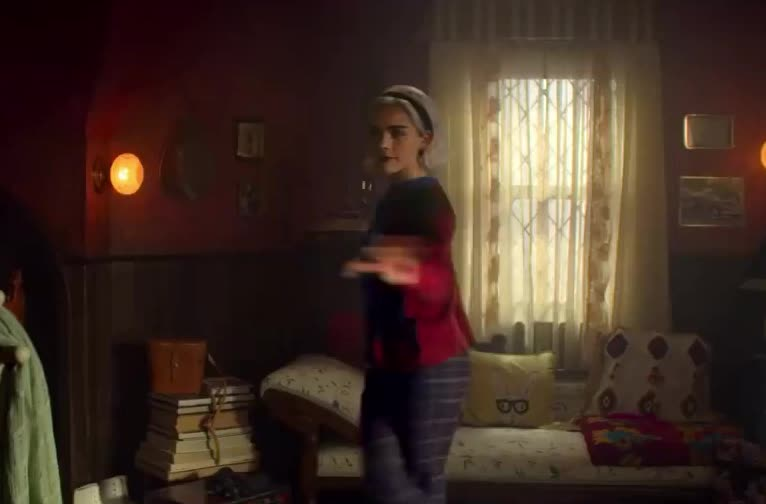 adventures, chilling, cute, dress, dressed, for, get, go, gorgeous, kiernan, netflix, of, out, ready, sabrina, shipka, skirt, tada, tonight, turn, Chilling Adventures of Sabrina: Part 2 | Netflix GIFs