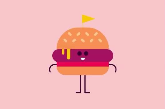 animation, burger, cheeseburger, cut, down, embarrased, food, fun, funny, oops, pants, Funny burger GIFs