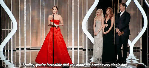 bradley cooper, jennifer lawrence, It's clear that J. Law looks up to Cooper, and she is never one to be shy about how he inspires her. GIFs