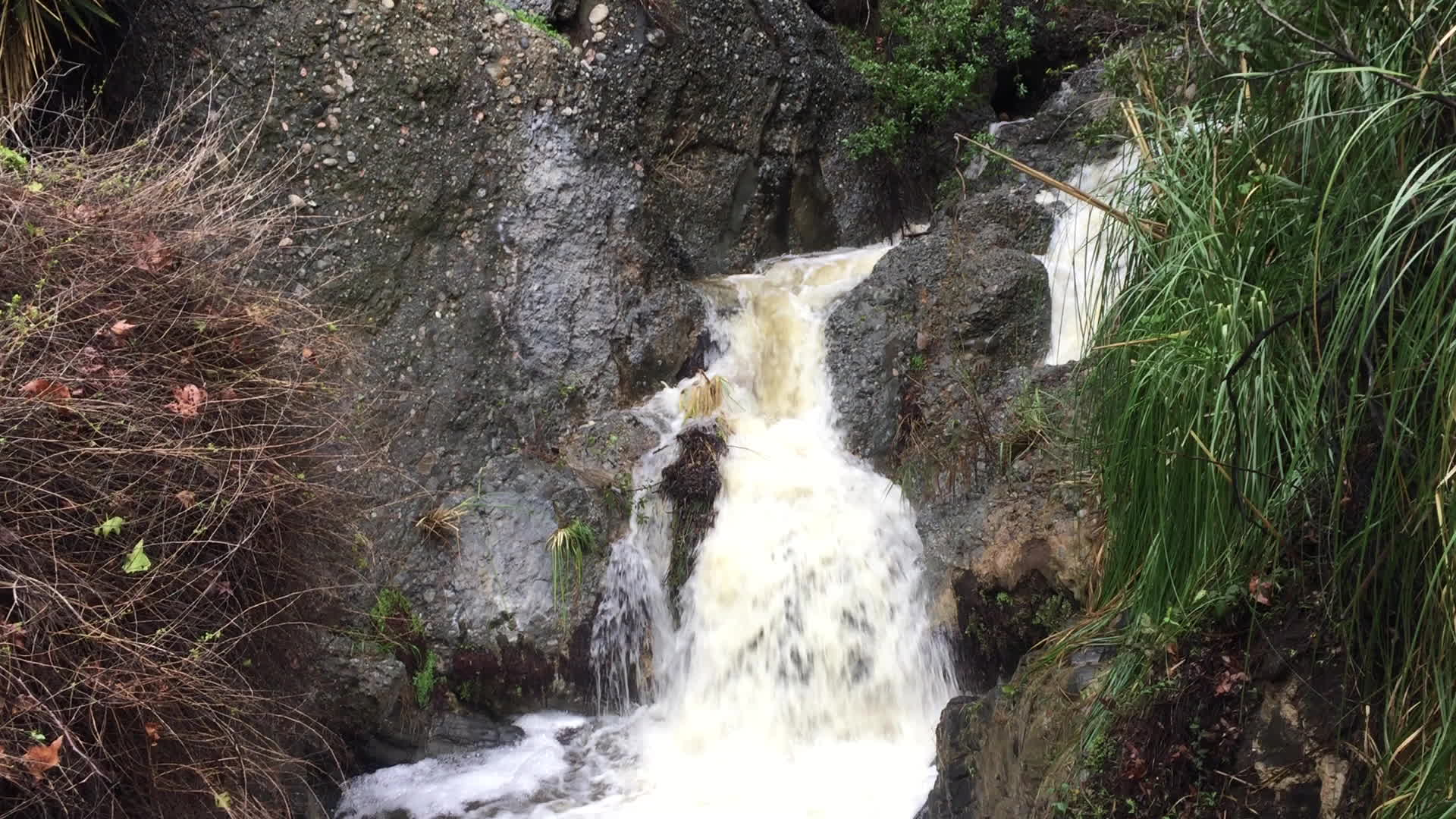 LosAngeles, For those that hike Temescal Canyon, a view from yesterday of the waterfall that's usually just a