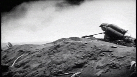 battle of iwo jima, flamethrower, iwo jima, marine corps, united states marine corps, us marine corps, usmc, world war 2, world war ii, ww2, wwii, US Marines engage in combat, Battle of Iwo Jima GIFs