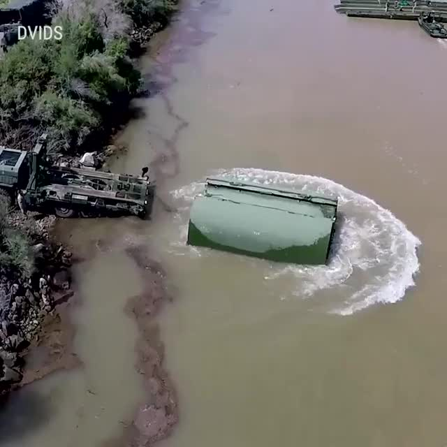 Watch and share Large Military Vehicles Can Cross Rivers With This Temporary Bridge GIFs by hellsjuggernaut on Gfycat