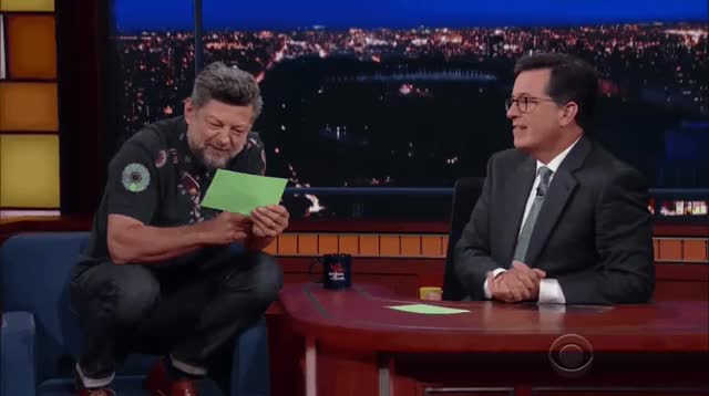 Watch The Late Show with Andy Serkis  GIF on Gfycat. Discover more andy serkis, celebs, funny, stephen colbert, the late show GIFs on Gfycat