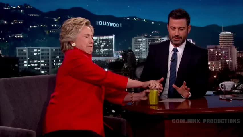 hillary, stumped, tarantinogifs, Hillary Clinton gets stumped by a jar of pickles GIFs