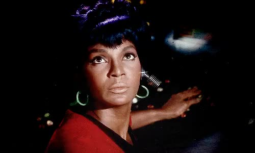 Watch this trending GIF on Gfycat. Discover more Commander Uhura, Lietenant Uhura, NASA, Nichelle Nichols, Star Trek, Star Trek: The Original Series, Starpower, Uhura, actress, actresses, singer, singers GIFs on Gfycat