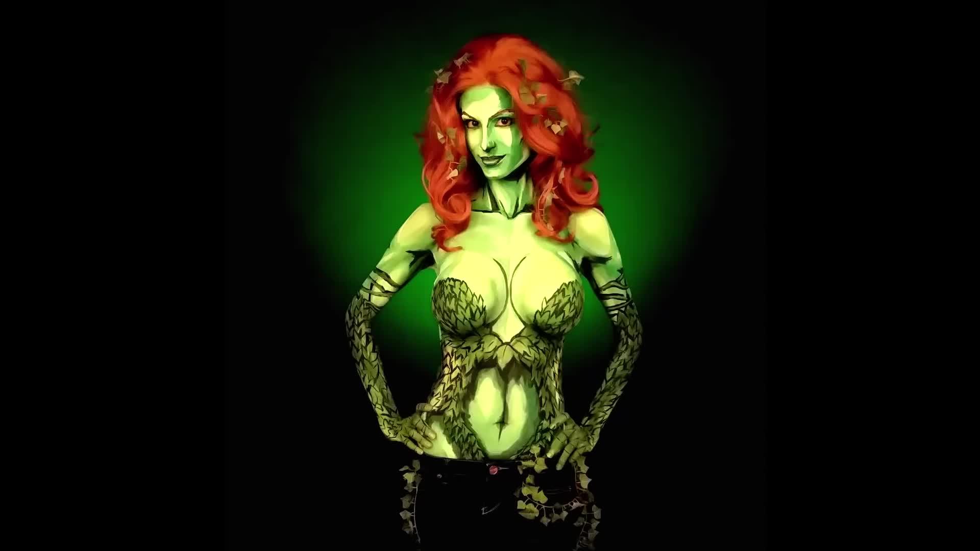 art, body, body art, body paint, body-art, body-paint, bodyart, bodypaint, comic-book, ivy, lapse, paint, painting, poison, poison ivy, poison-ivy, poisonivy, time, time-lapse, timelapse, Poison Ivy Bodypaint Time Lapse GIFs