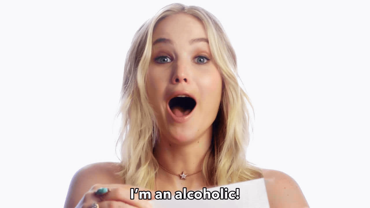 Jennifer Lawrence, alcoholic, crazy, funny, I'm an alcoholic GIFs