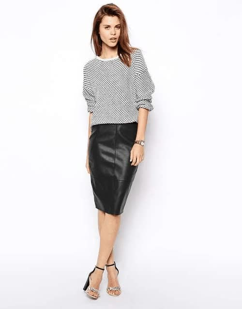 Watch and share ASOS Pencil Skirt In Leather Look For $57 / Wantering GIFs on Gfycat