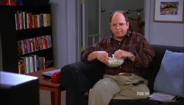 george costanza, popcorn, seinfeld, Seinfeld In HD - George Costanza Answering Machine GIFs