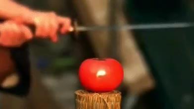Slow Motion Tomato Slice : oddlysatisfying GIFs