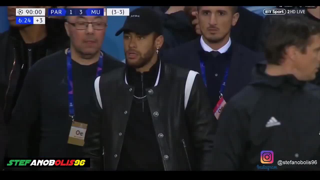 Neymar Reactions During PSG Vs Manchester United 1 3 ⚽ 2019 ⚽ HD ManUTD GIF