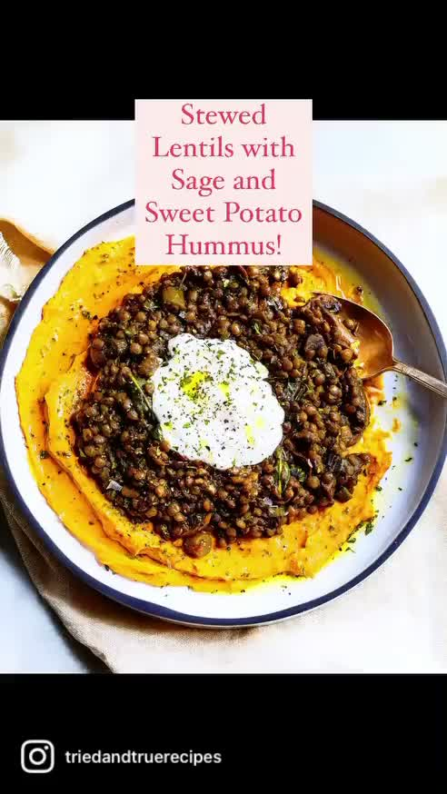 Watch and share Stewed Lentils With Sweet Potato Hummus GIFs by triedandtruerecipes on Gfycat
