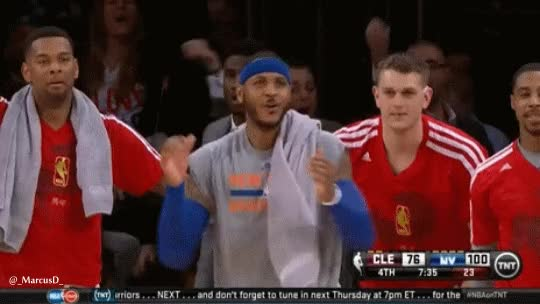 Watch and share Carmelo Anthony Reaction To J.R. Smith Dunk GIFs on Gfycat