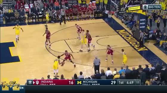 Watch Brooks Defeats Hard Hedge GIF by MGoBlog (@mgoblog) on Gfycat. Discover more 2017-18, Basketball, Eli Brooks, Indiana, Jon Teske, Michigan, Pick & Roll GIFs on Gfycat