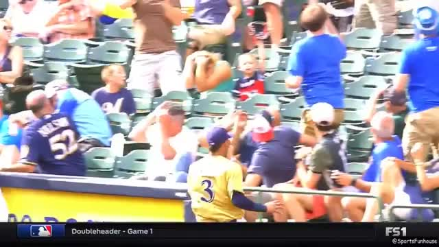Watch and share Sports Funhouse - This Is Great. #Brewers SS Orlando Arcia Has Two Chance Encounters With The Same Group Of Fans; Steals Ice Cream From One Of Them. 🤣  [FS1] GIFs by catracho on Gfycat