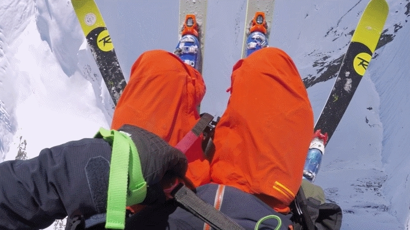 backcountry, holdmyredbull, ski, Paraglider ski drop GIFs