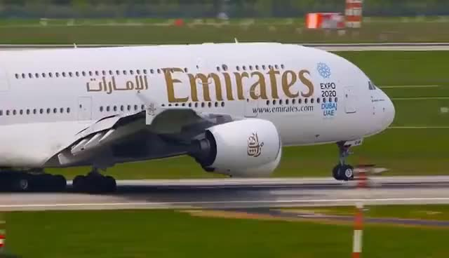 Watch 15 AIRBUS A380 Landings and Departures  - Emirates, Lufthansa, Qantas, Singapore ... (LWIA #2) GIF on Gfycat. Discover more related GIFs on Gfycat