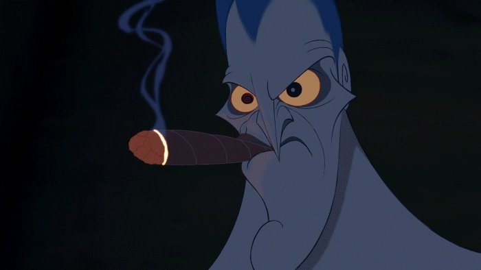 gfycatdepot, Smoking the cigar instantly. [Hercules 1997 Disney cartoon Hades Lord of the Underworld Greek God gods myth red flame pissed annoyed smoke smoke tobacco hookah death stare angry eyes shaking made shake] (reddit) GIFs