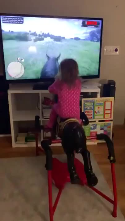 Child Experiences Horseback Riding In Her Living Room GIFs