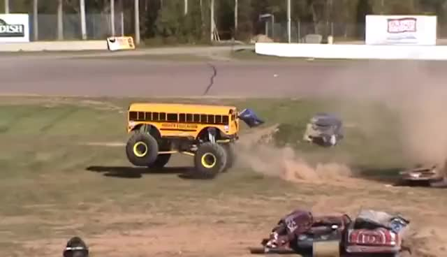 Watch Higher Education COOL BUS Freestyle Monster Truck races GIF on Gfycat. Discover more related GIFs on Gfycat