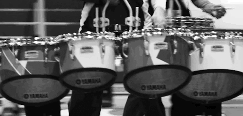 Drum Corp International, band, black and white, dci, drumcorp, drumline, drums, gif, marching, marching band, music, tenors, wgi, winterguard, yamaha,  GIFs