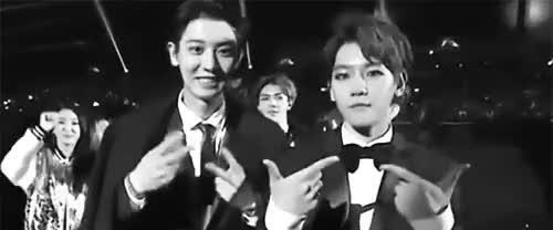 Watch baekhyun mouthing out 'EXO-L' GIF on Gfycat. Discover more XD, baekhyun, baekyeol, chanbaek, chanyeol, exo, exo gif, exo k, mama 2014, notice chanyeol changing his peace sign to the exo l sign, ohorat, sehun, suho GIFs on Gfycat