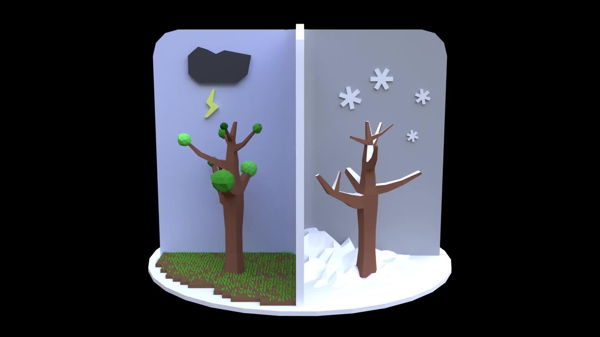 3D, blender, Low Poly Seasons GIFs