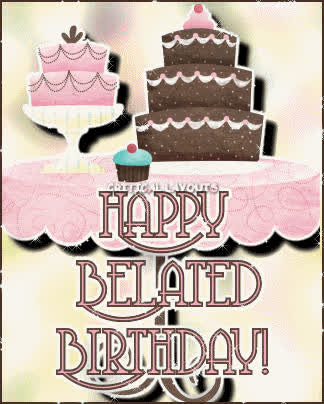 Happy Belated Birthday Cake Graphic For Facebook Sharing Gif Find