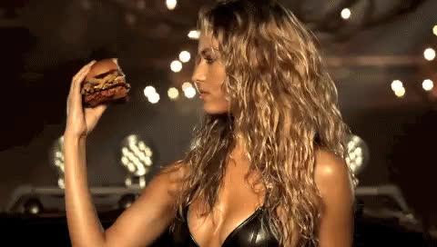 burger, cheeseburger, hannah ferguson, Hannah Ferguson (& Paris Hilton) Sell Us A Carl's Jr. Burger [VIDEO] GIFs