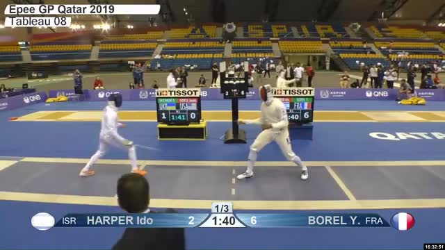 Watch HARPER Ido n 3 GIF by Scott Dubinsky (@fencingdatabase) on Gfycat. Discover more gender:, leftname: HARPER Ido n, leftscore: 3, rightname: BOREL Y, rightscore: 7, time: 00029236, touch: double, tournament: doha2019, weapon: epee GIFs on Gfycat