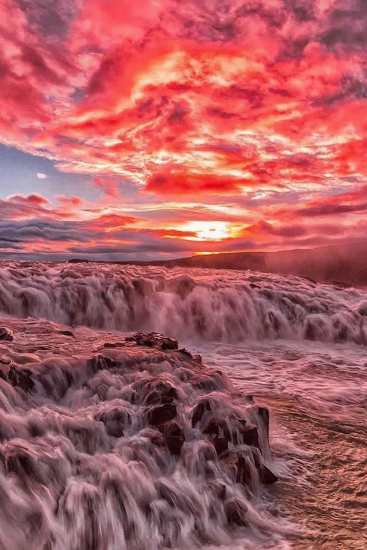 animation, colorful, dusk, mirage, nature, sunset, water, waterfall, Sunset Waterfalls GIFs