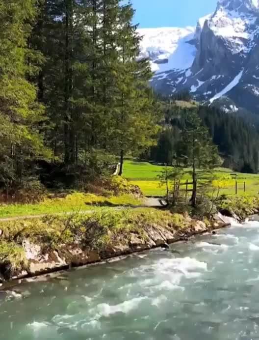 mountain, mountains, nature, river, Berner Oberland, Switzerland GIFs